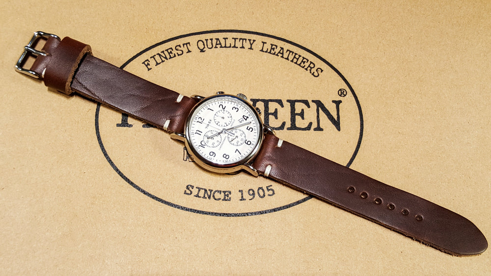Tan Chromexcel 6/7 oz leather watch strap, handmade in Finland - finwatchstraps