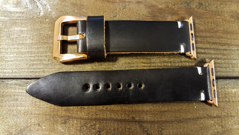 Apple Watch band 38mm, 42mm- Black Horween leather: Gold, Rose gold, Black and Silver iWatch - finwatchstraps