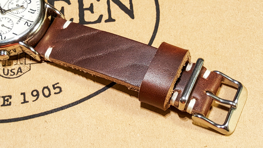 Tan Chromexcel 6/7 oz leather watch strap, handmade in Finland: 16 mm - 26 mm - finwatchstraps