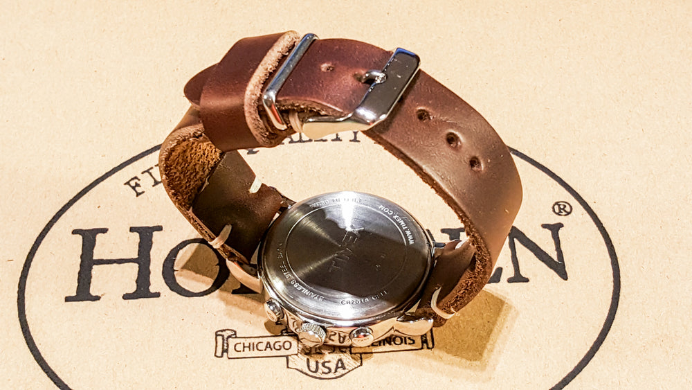 Tan Chromexcel 6/7 oz leather watch strap, handmade in Finland: 16 mm - 26 mm