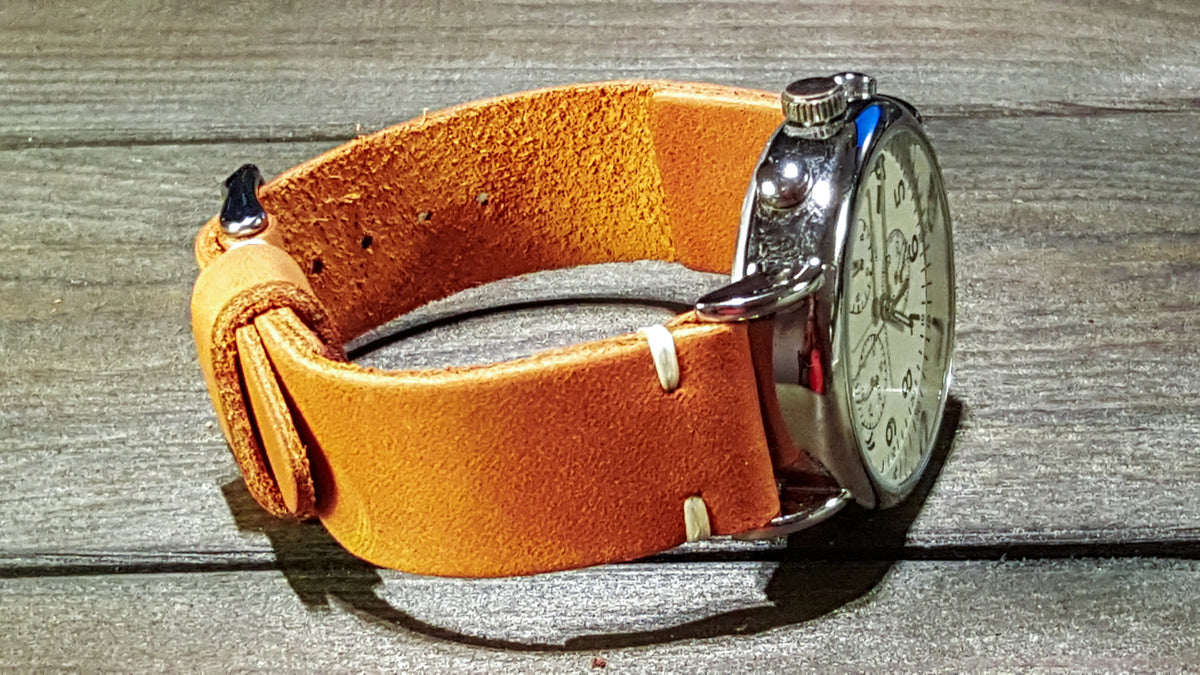 Italian leather watch band, Caramel color. Premium quality watch strap 16 mm, 17 mm, 18mm, 19 mm, 20 mm, 21 mm, 22mm, 23 mm, 24 mm, 25 mm, 26 mm - finwatchstraps
