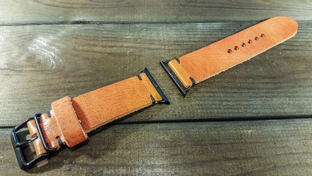 Apple Watch band Horween Derby English Tan Leather 38mm, 42mm for Black, Silver, Gold and Rose Gold iWatch