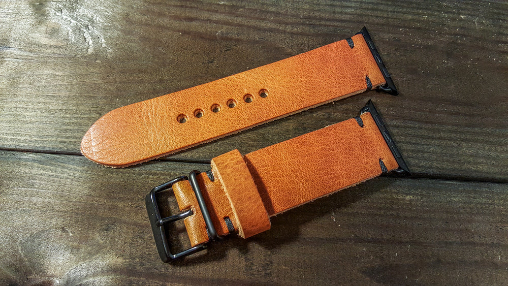 Apple Watch band Horween Derby English Tan Leather 38mm, 42mm for Black, Silver, Gold and Rose Gold iWatch - finwatchstraps