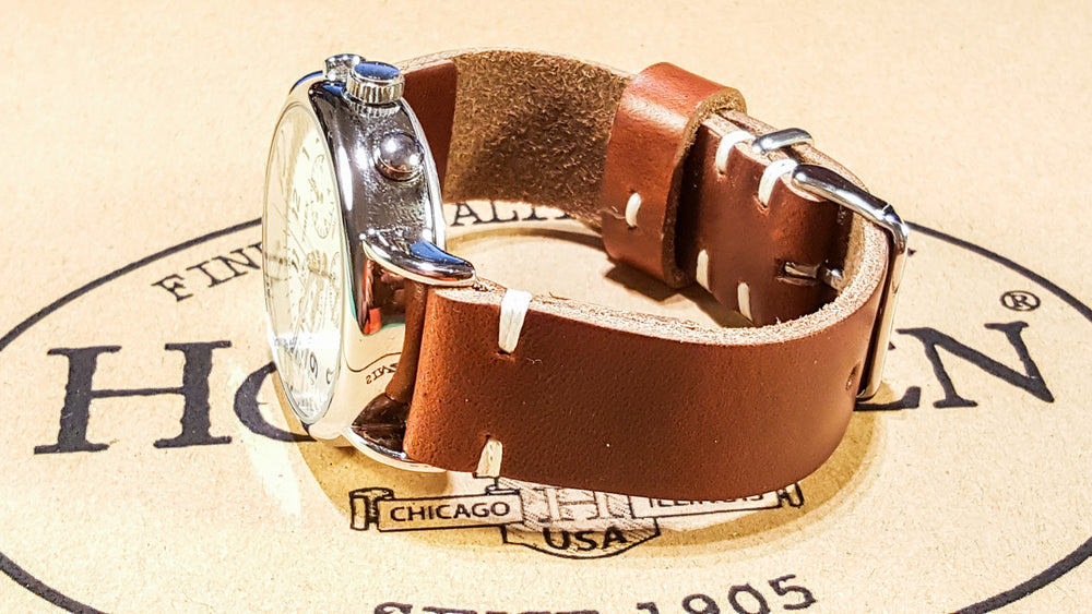 Tan Chromexcel horsehide leather watch strap, handmade in Finland 16mm - 26 mm - finwatchstraps