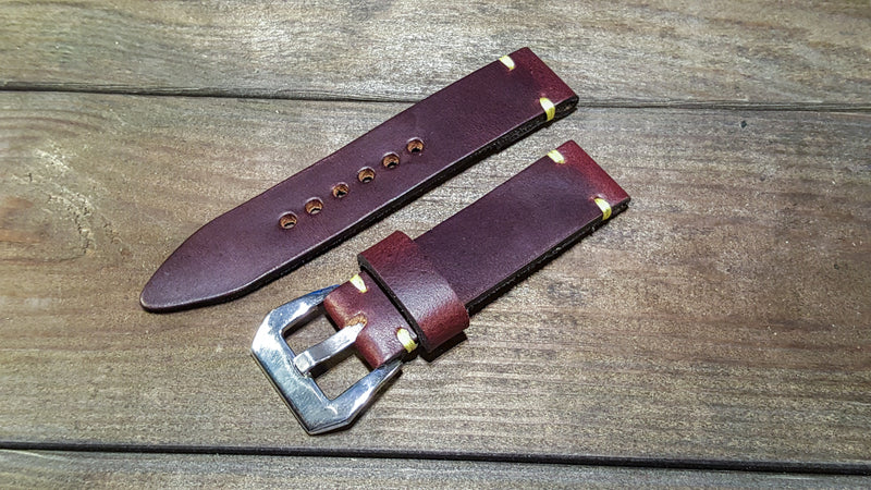 Burgundy Horween Chromexcel leather watch band, handmade in Finland - 16mm, 17 mm,18 mm, 19 mm, 20 mm, 21 mm,22mm, 23 mm,24 mm, 25 mm, 26mm - finwatchstraps