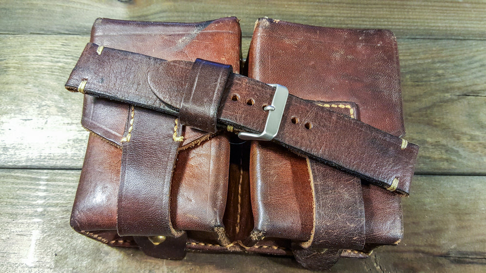 Vintage Ammo Watch band, thickness 2,2-4 mm, made from ammo pouch dates back to 1950th-1960th - finwatchstraps