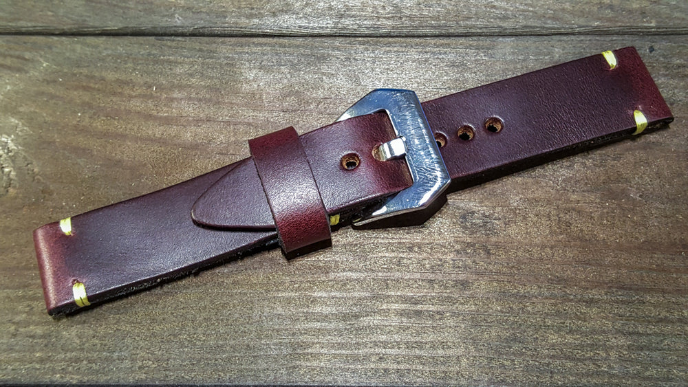 Burgundy Horween Chromexcel leather watch band, handmade in Finland - 16mm, 17 mm,18 mm, 19 mm, 20 mm, 21 mm,22mm, 23 mm,24 mm, 25 mm, 26mm