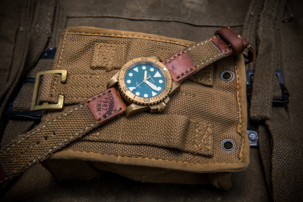 Vintage  Canvas ammo watch band, thickness 3 mm, made of Italian army surplus,  dates back to 1960th-1980th - finwatchstraps