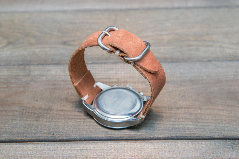 Honey Nantucket leather watch strap, handmade in Finland - 16mm, 17 mm, 18mm, 19mm, 20mm, 21 mm, 22mm, 23 mm, 24mm.