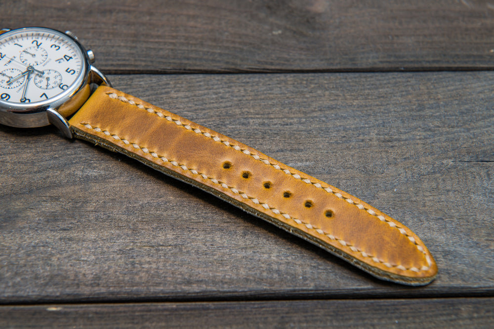 SunGold Cavalier leather watch strap, hand stitched,  handmade in Finland - 18mm, 19 mm, 20mm, 21 mm, 22mm, 23 mm, 24mm, 25 mm, 26 mm. - finwatchstraps