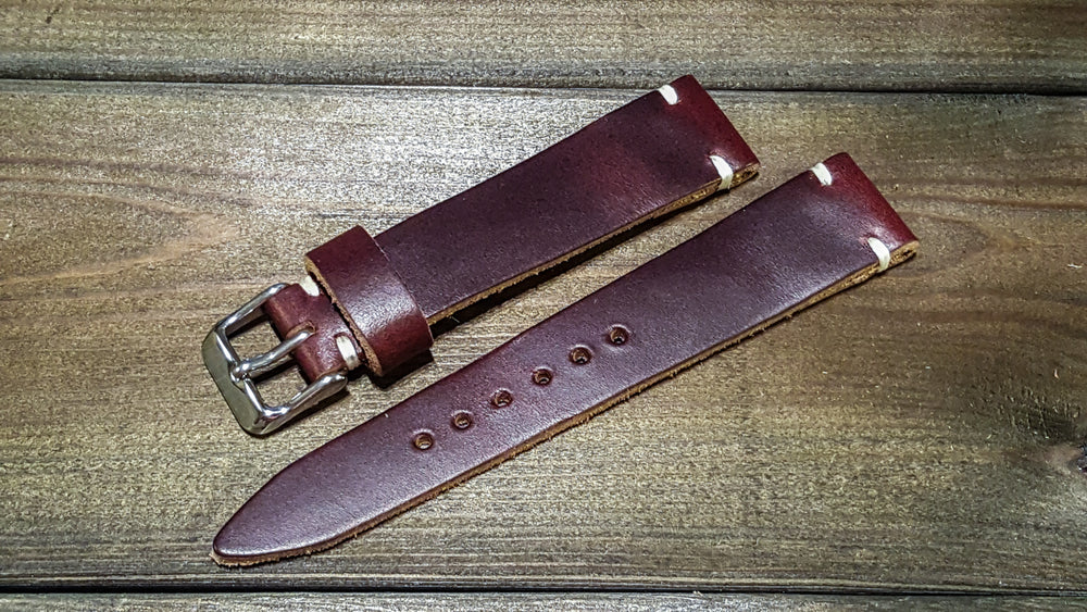 Burgundy leather watch band, handmade in Finland. Tapered size: 26/22mm, 25/22 mm, 24/20mm, 23/20 mm, 22/18 mm, 21/18 mm, 20/16 mm, 19/16 mm