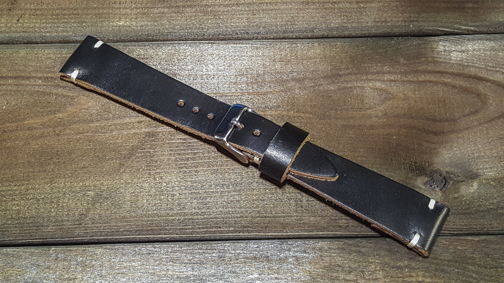 Black Chxl, handmade in Finland. Tapered size: 26/22mm, 24/20mm, 22/18 mm, 20/16 mm - finwatchstraps