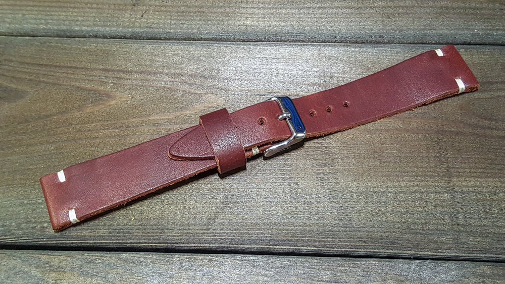 Sherman Brown Waxed vintage, handmade in Finland. Tapered size: 26/22mm, 25/22 mm, 24/20mm, 23/20 mm, 22/18 mm, 21/18 mm, 20/16 mm, 19/16 mm - finwatchstraps