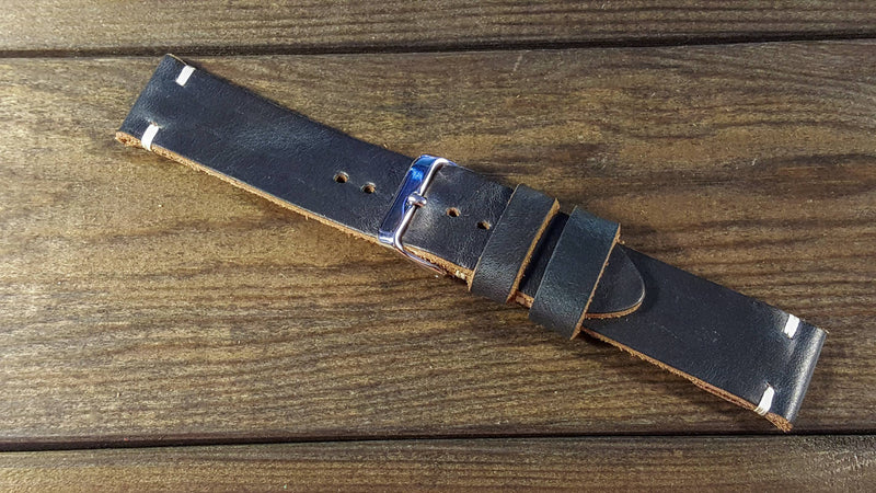 Navy Blue Horween leather watch strap, handmade in Finland - 10-26 mm