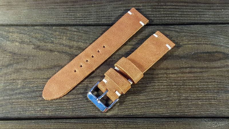 Nantucket Horween leather watch strap, handmade in Finland - 16mm, 17 mm, 18mm, 19 mm, 20mm, 21 mm, 22mm, 23 mm, 24mm, 25 mm, 26mm.