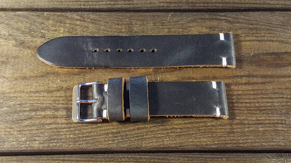 Navy Blue Horween leather watch strap, handmade in Finland - 16mm, 17 mm, 18mm, 19 mm, 20mm, 21 mm, 22mm, 23 mm, 24mm, 25 mm, 26mm. - finwatchstraps