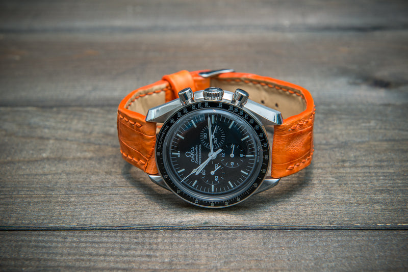Alligator watch strap, Orange matte, handmade in Finland