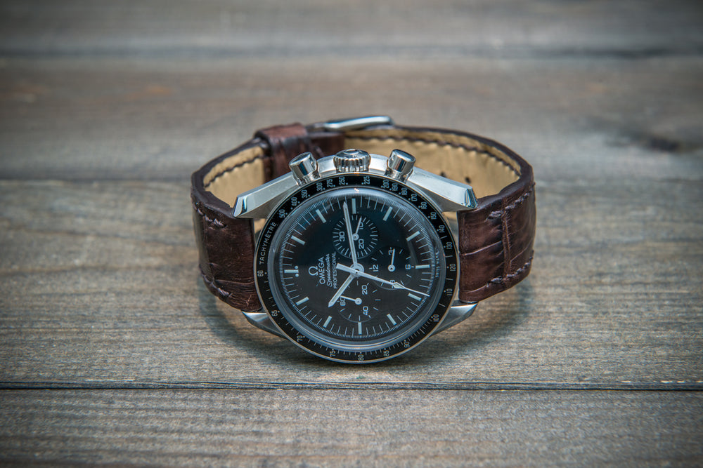 Alligator watch strap, Dark Brown matte, handmade in Finland - finwatchstraps
