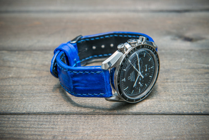 Alligator watch strap, Blue matte, handmade in Finland