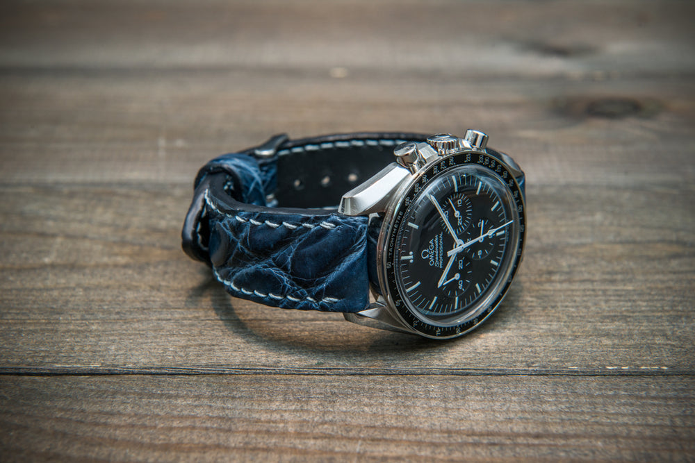 Alligator watch strap, Dark Blue, handmade in Finland - finwatchstraps