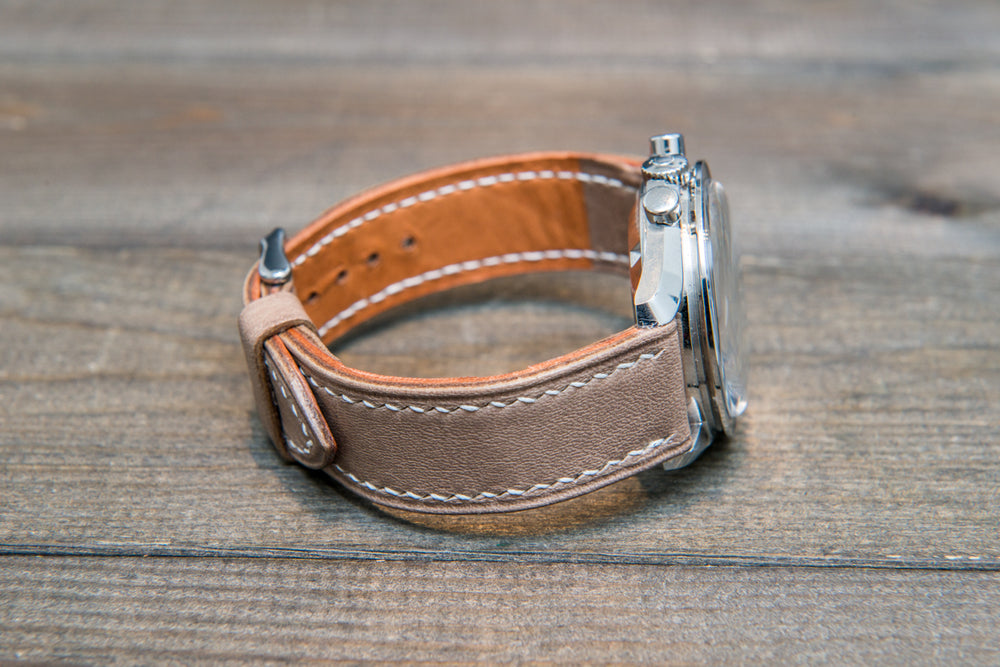 Buttero leather watch strap (Antique beige), handmade in Finland 10-26 mm - finwatchstraps
