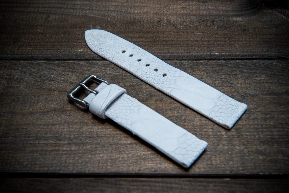 Ostrich legs leather watch straps. Snow white color,  handmade to order in Finland, 10-26 mm