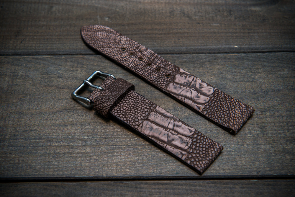 Ostrich legs leather watch strap, Stonewash Cigar color, handmade in Finland, 10-26 mm - finwatchstraps