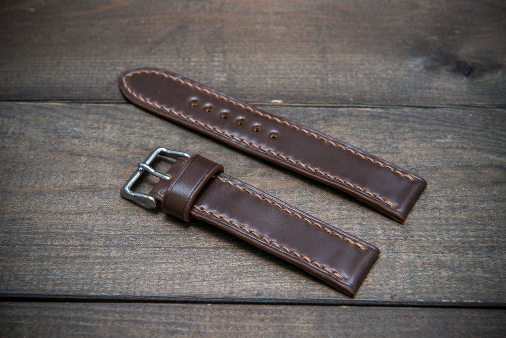 Shell Cordovan leather watch strap, Dark Brown. Handmade in Finland - 10-26 mm - finwatchstraps