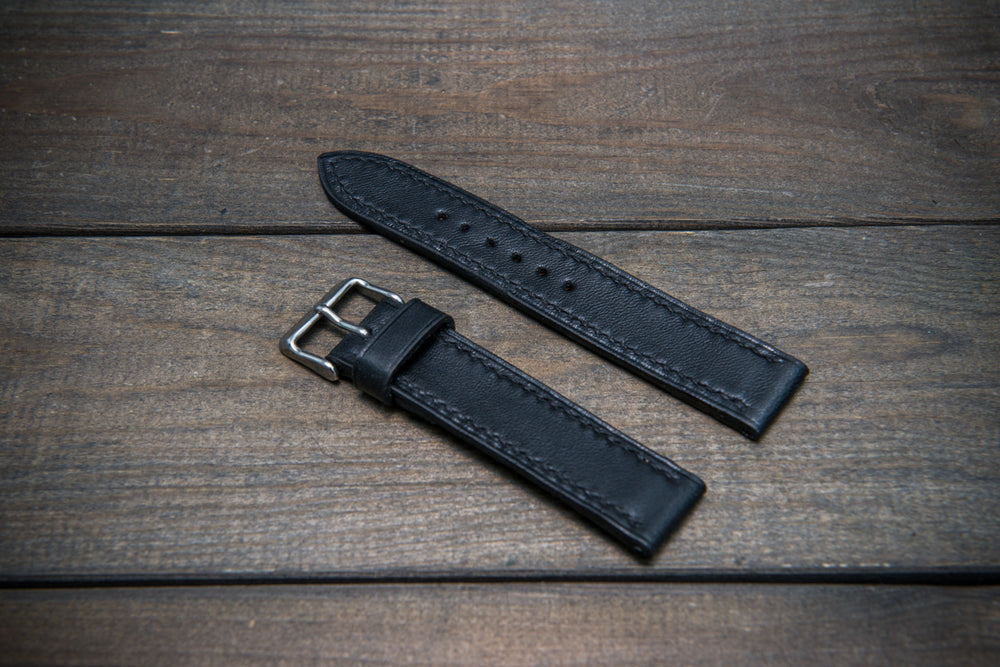 Buttero leather watch strap (black), handmade in Finland 10-26 mm - finwatchstraps