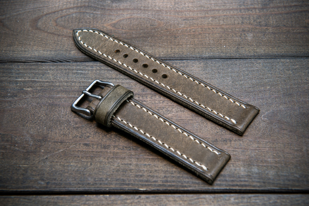 Badalassi Carlo, Pueblo Grigio leather watch strap, hand-stitched, one leather keepers, handmade in Finland - finwatchstraps