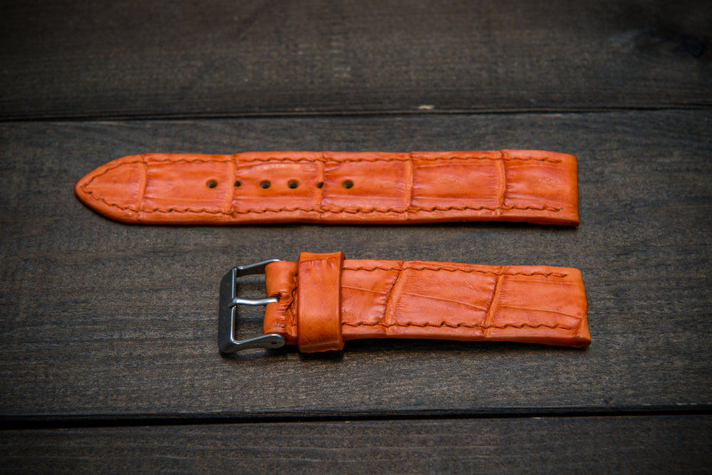 Alligator watch strap, Orange matte, handmade in Finland - finwatchstraps