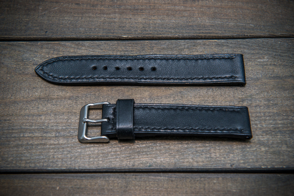 Buttero leather watch strap (black), handmade in Finland 10-26 mm