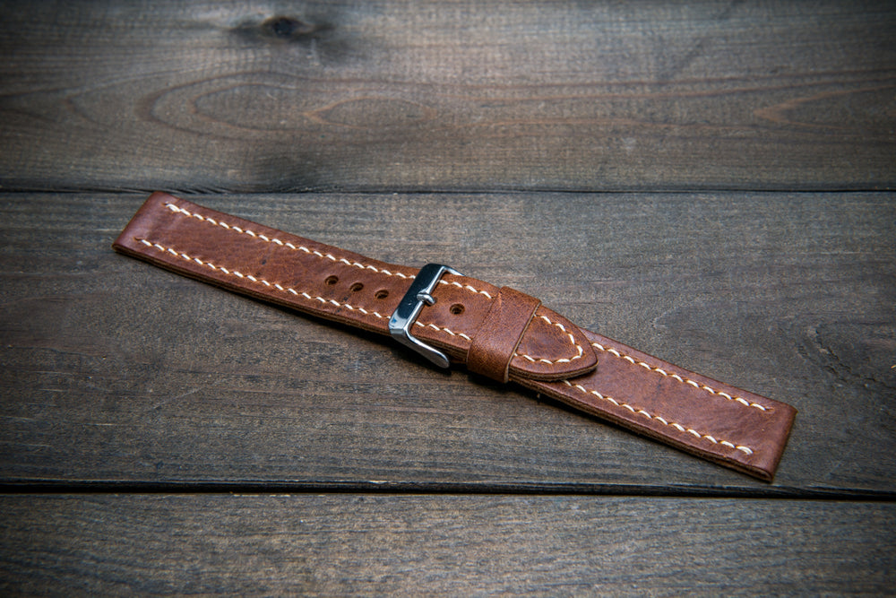 Reindeer leather watch band, Vintage Brown, hand-stitched, one leather keeper, handmade in Finland
