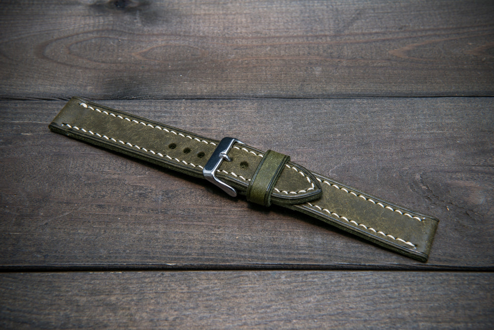 Badalassi Carlo, Pueblo Olive leather watch strap, hand-stitched, one leather keeper, handmade in Finland - finwatchstraps