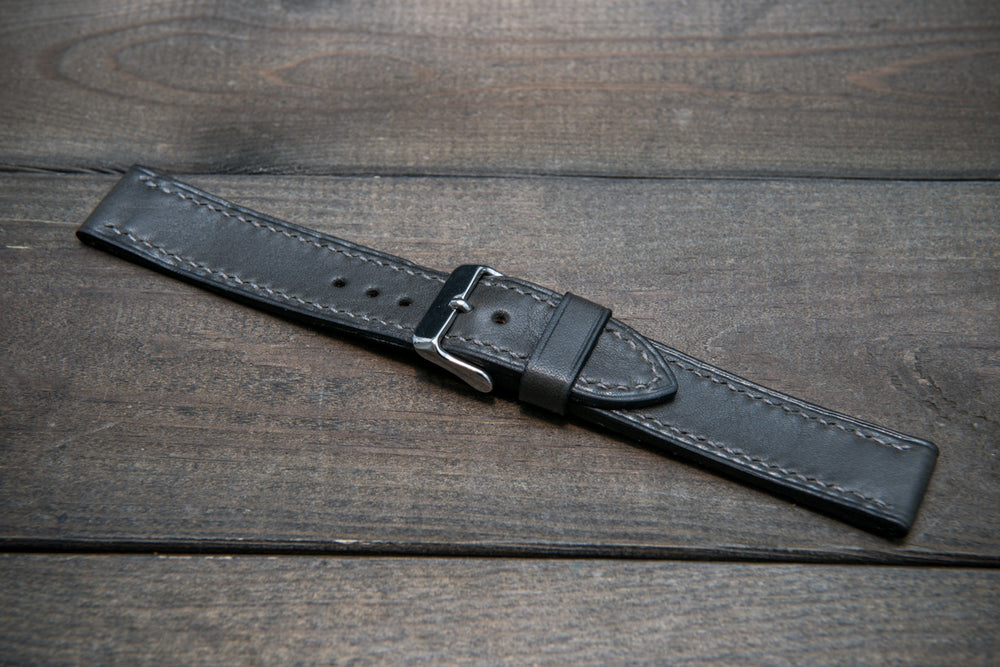 Buttero leather watch strap (grey), handmade in Finland - 10 mm, 12 mm, 14 mm, 16mm, 17 mm, 18mm, 19 mm, 20mm, 21mm, 22mm, 23 mm,  24mm, 25 mm, 26 mm.
