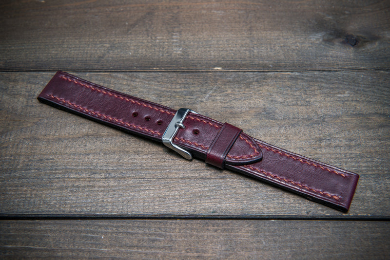 Buttero leather watch strap (burgundy), handmade in Finland 10-26 mm