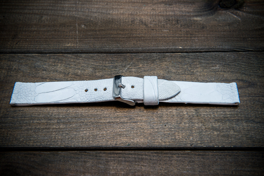 Ostrich legs leather watch straps. Snow white color,  handmade to order in Finland, 10-26 mm - finwatchstraps