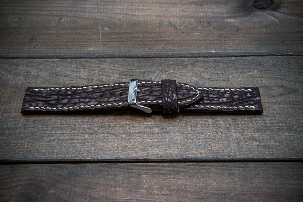 Shark leather watch strap, Dark brown (2) matte - finwatchstraps