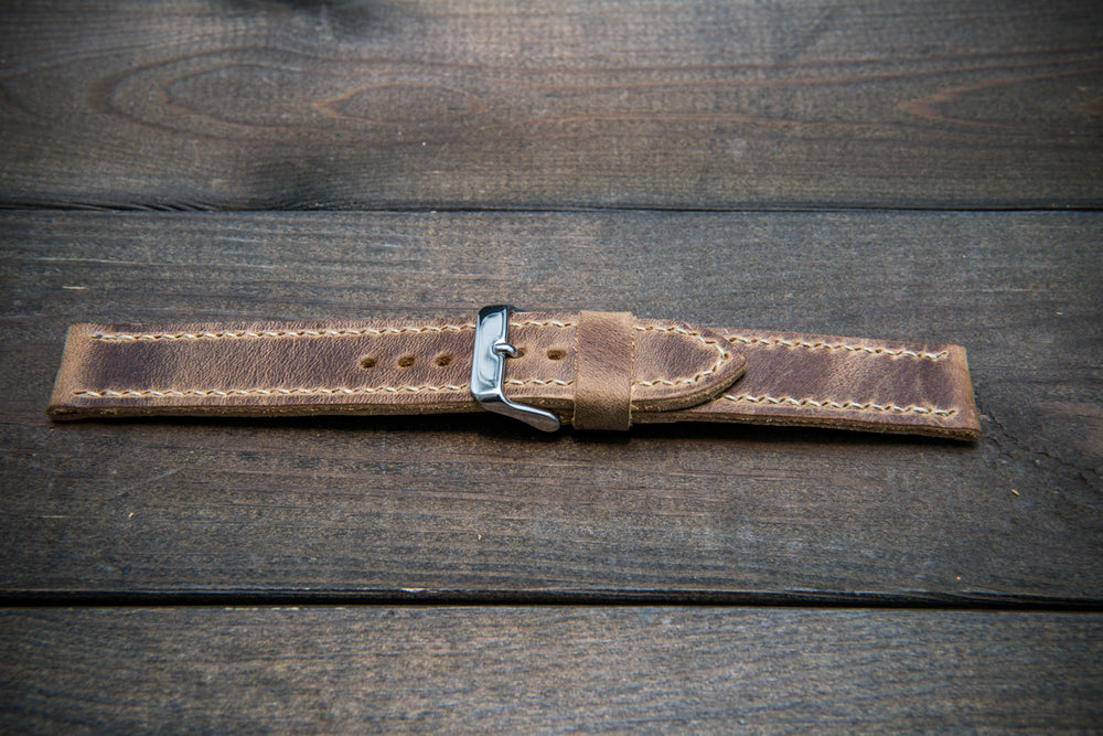 Badalassi vintage beige  leather watch strap. Hand-made to order in Finland.