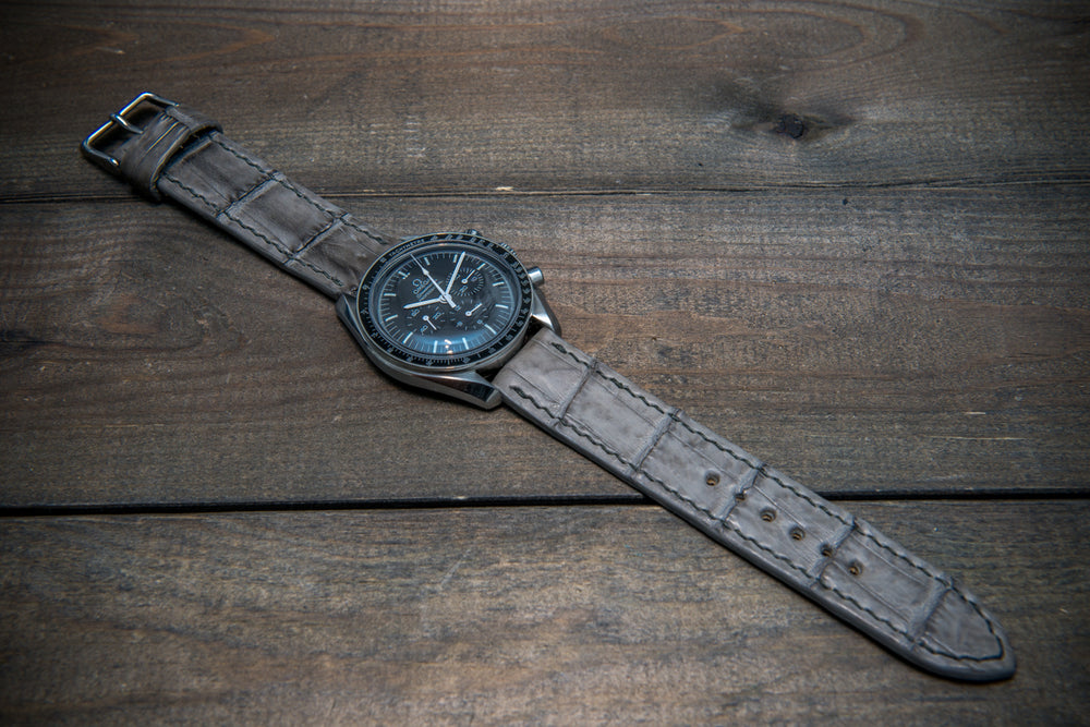 Alligator watch strap, Stone grey color, handmade in Finland