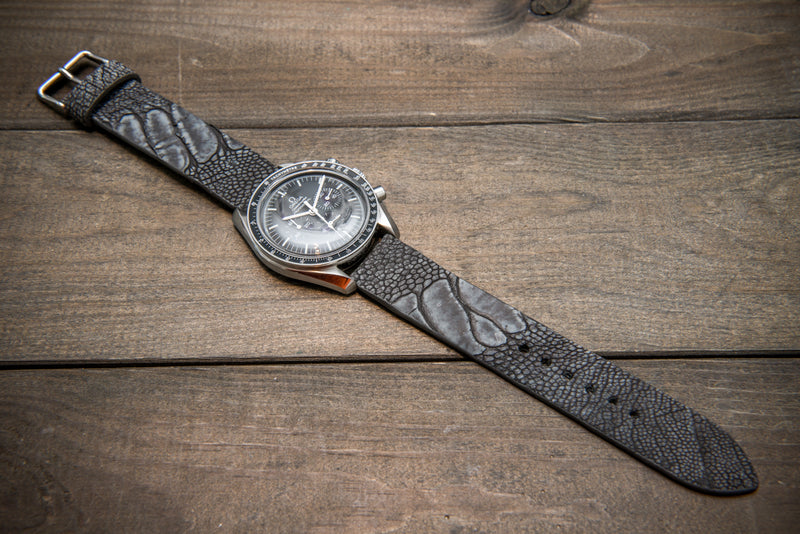 Ostrich legs leather watch straps. Grey color,  handmade to order in Finland, 10-26 mm - finwatchstraps
