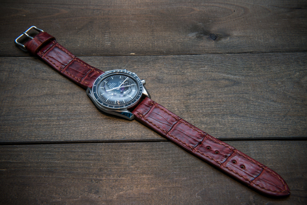 Alligator watch strap, Burgundy, handmade in Finland - finwatchstraps