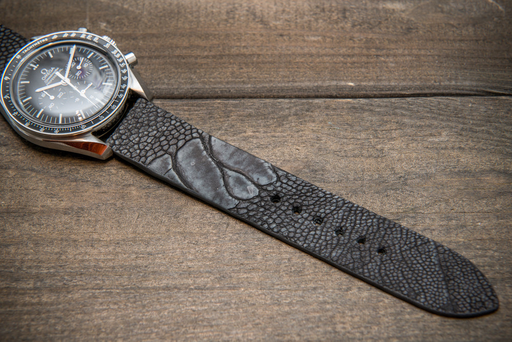 Ostrich legs leather watch straps. Grey color,  handmade to order in Finland, 10-26 mm