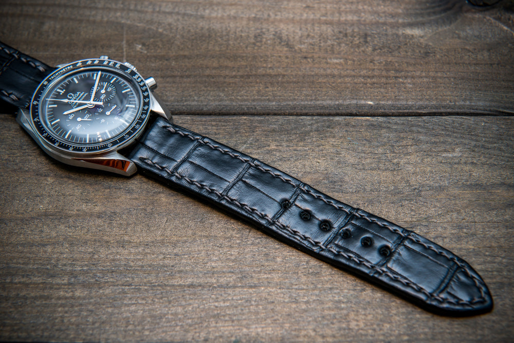 Alligator watch strap, Black matte, handmade in Finland - finwatchstraps