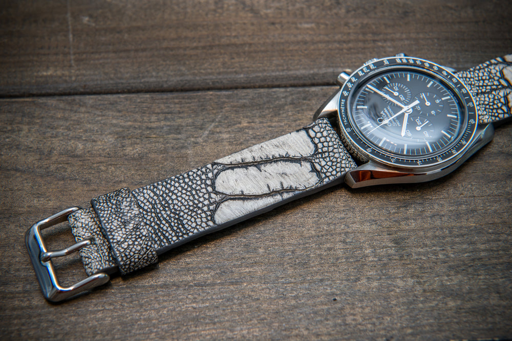 Ostrich legs leather watch straps. Stone Grey color (WO Bone),  handmade to order in Finland, 10-26 mm - finwatchstraps