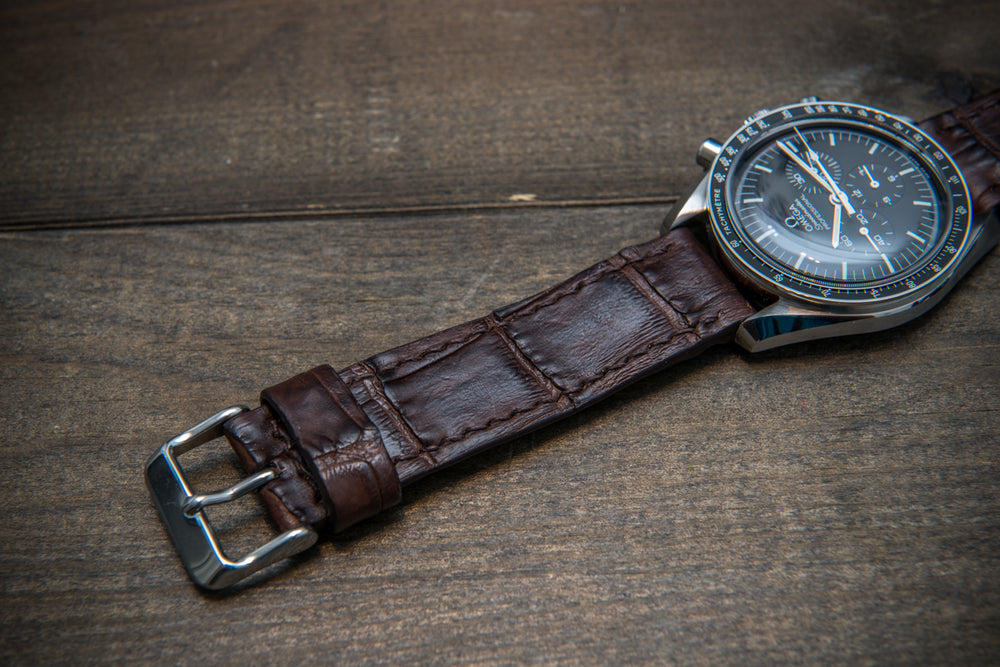 Alligator watch strap, Dark Brown matte, handmade in Finland
