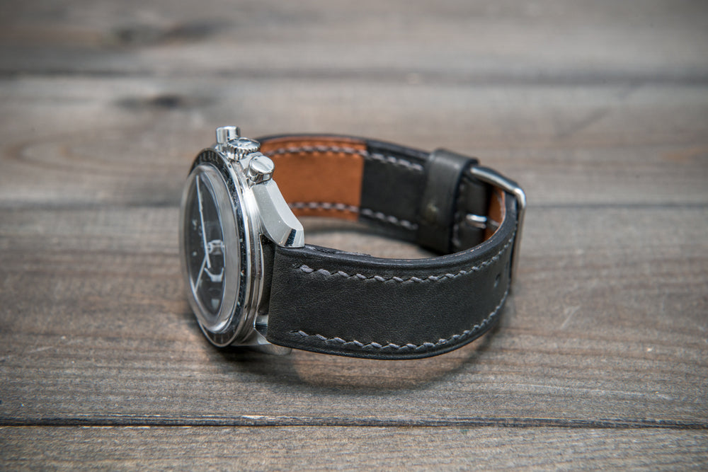 Buttero leather watch strap (grey), handmade & saddle stitched in Finland - finwatchstraps