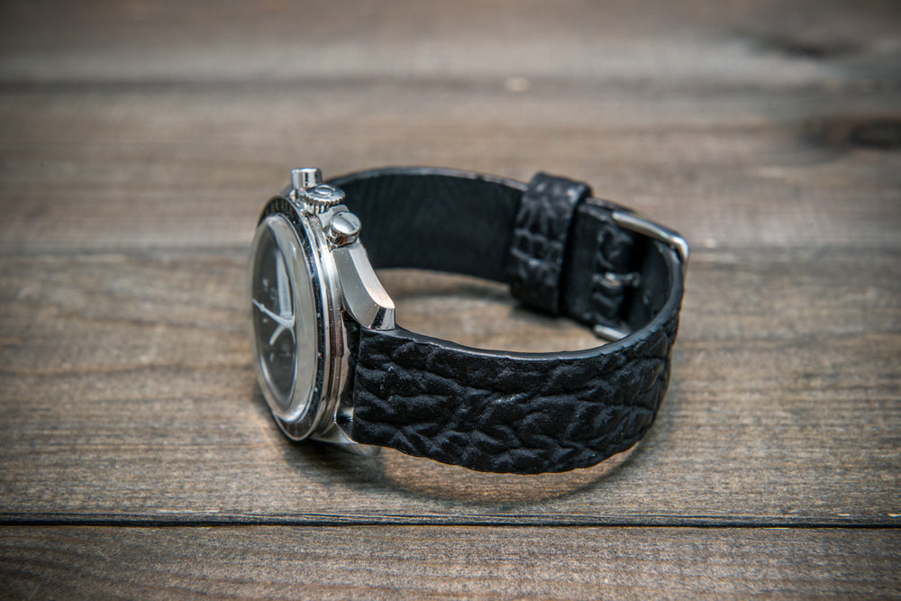 Black matte shark leather watch strap - finwatchstraps