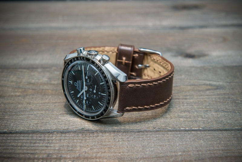 Shell Cordovan leather watch strap, Dark Brown. Handmade in Finland - 10-26 mm