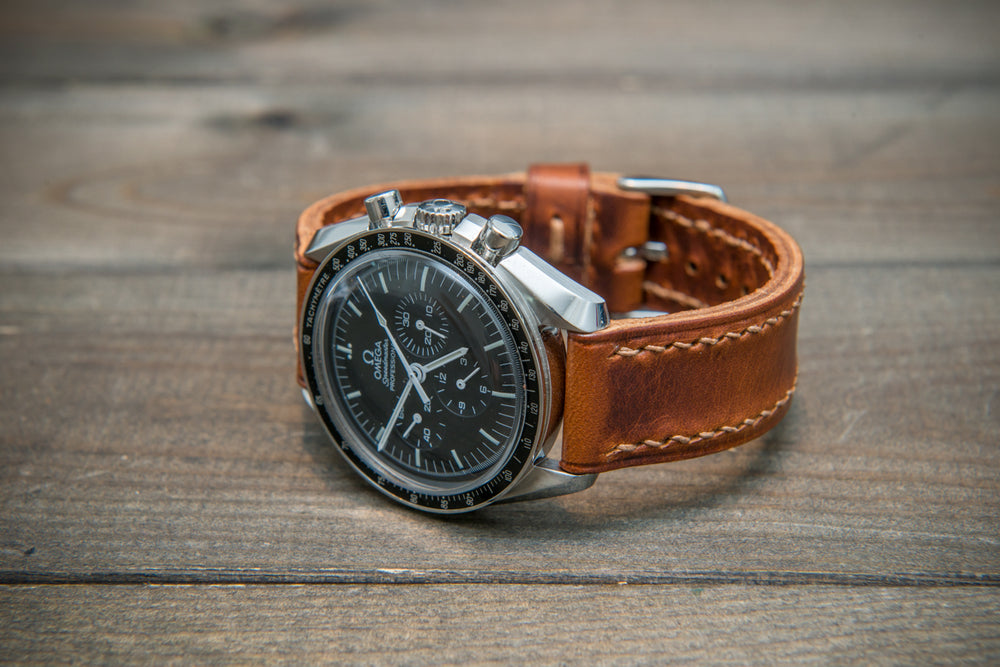 Badalassi Congac Wax  leather watch strap. Hand-made to order in Finland. - finwatchstraps